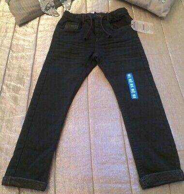 ZARA Boys Skinny Grey Jeans Slim Charcoal Drawstring Casual Bottoms Trousers 6
