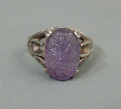 Vintage Chinese Art Deco Era Carved Amethyst Sterling Silver Statement Ring sz 8
