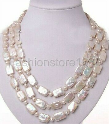 """stunning baroque white freshwater cultured pearl crystal necklace 50"""""""