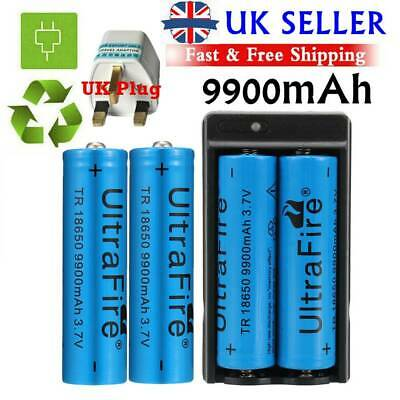 4Pcs UltraFire 9900mAh Rechargeable Batteries 18650 Battery 3.7v Li-ion+Charger