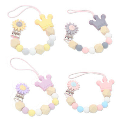 2X(Silicone Wood Beads Baby Pacifier Clip Chain Cute Flower Crown Pacifier J8O5