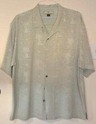 Tommy Bahama Hawaiian Camp Button Front Mens XL LtGreen, 100% Silk, Exc. cond.