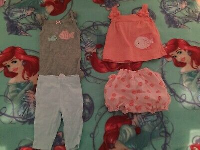 Carters/Child Of Mine Set Of 2 Outfits Ocean Fish Sea Newborn Baby Girl Summer