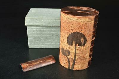 A7327: Japanese Wooden Cherry bark art TEA CADDY Chaire Container Tea Ceremony