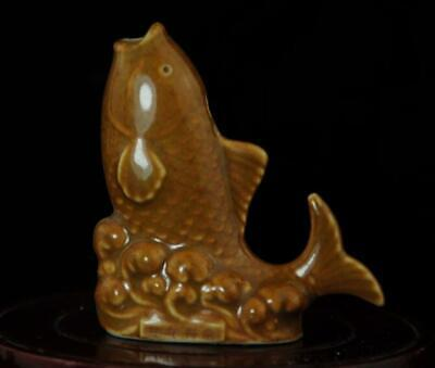 Chinese Old Hand-made Yellow Glaze Porcelain Goldfish Sculpture Statue A02