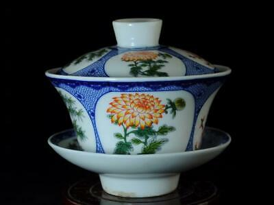 Chinese Hand-made Famille Rose Porcelain Four Flower Cup /qianlong Mark B02