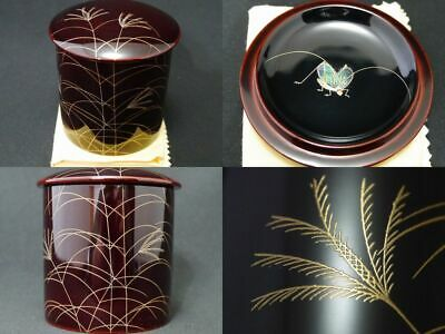 Japanese Lacquer Wooden Tea caddy Bell Cricket makie Kinrinji-Natsume (109)