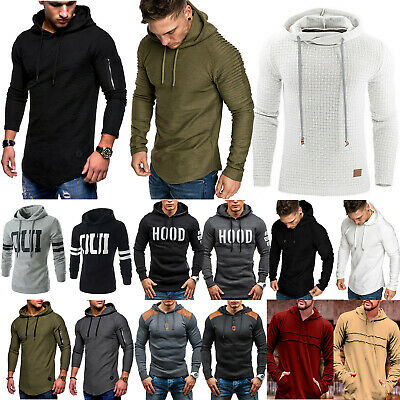 Mens Long Sleeve Sport Hooded Tops Shirts Fitted Jumper Hoddies Pullover Winter