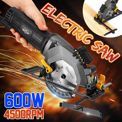 600W 220V Electric Circular Saw 4500RPM Compact Cutting Tool Kit w/ Guide Ruler