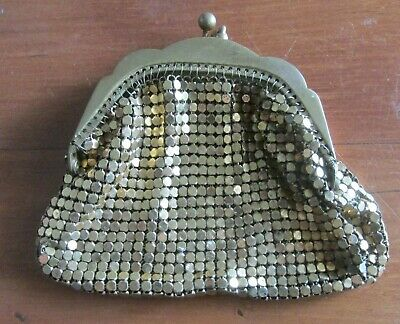 Original Vintage Gold Mesh Coin Purse circa 1960s Unlined