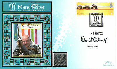 2002 Commonwealth Games Benham Cover Signed Rifle Shooter David Calvert