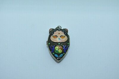 Antique Chinese Export Sterling Silver Enamel Locket Pendant