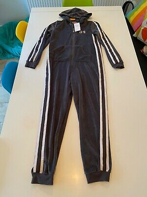 M&S Girls Kids 11-12 years BNWT onezee; all in one; jumpsuit grey velour sport