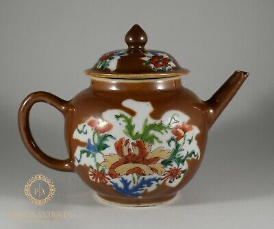 Antique Chinese Qianlong Period Batavian Brown Wucai Porcelain Export Teapot
