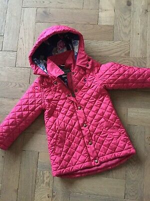 Joules Girls Pink Quilted Coat /Jacket With Floral Lining Age 8 Great For Spring