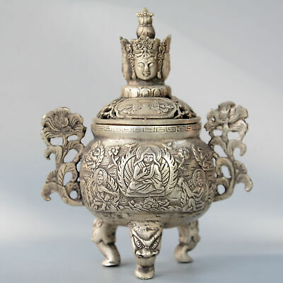 Collectable China Old Miao Silver Hand-Carve Bloomy Flower Buddhism Noble Censer