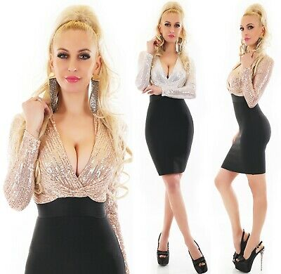 Ladies New Year's Eve Cocktail Dress Glitter Sequins Long S M L