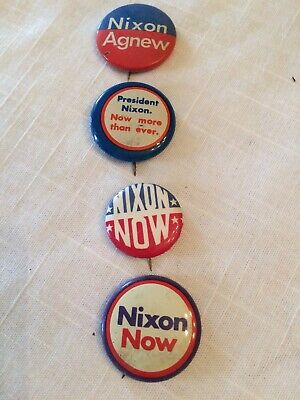 Set Of 4 Nixon Presidential Campaign Buttons