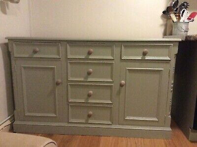 Solid Pine Sideboard - 2 Doors, 6 Drawers - painted in Farrow & Ball French Grey