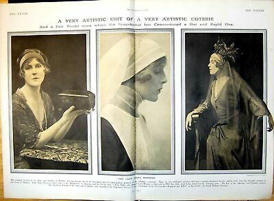 Original Old Antique Print Lady Diana Manners Hing A Chest Veiled Costumed 1916