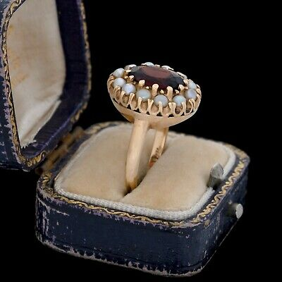 Antique Vintage Deco 14k Yellow Gold Bohemian Garnet Seed Pearl Band Ring S 6.25