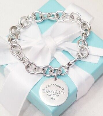 Please Return to Tiffany & Co Round Circle Tag Rolo Chain Link Charm Bracelet