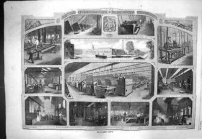 Original Old Antique Print 1861 Smallarms Factory Enfield Foundry Smith 19th