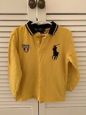 POLO RALPH LAUREN Yellow Germany Rugby Polo Shirt Age 6 Years VGC Summer