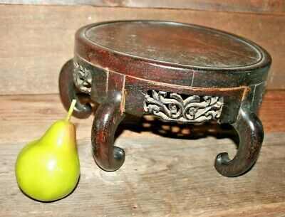 """ANTIQUE CHINESE CARVED WOOD DISPLAY STAND Large 10 1/2"""" wide Asian  #6"""