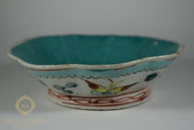 Antique 19Th Century  Chinese Porcelain Turquoise Ground Bowl