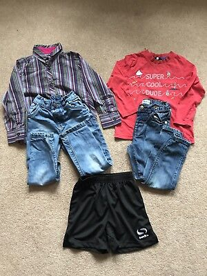 Boys George & Primark Blue Jeans Kids Next Shirt Red Top Black Shorts 3-4 Years