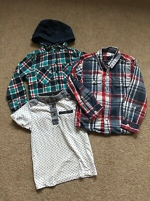 Boys George Urban Rascals Checked Shirt F&F White Blue Collar Kids Tee 4-5Years