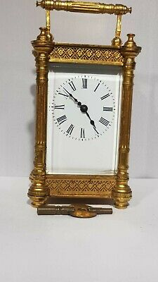 Antique French Carriage Clock Gilt Filigree Case Working Order