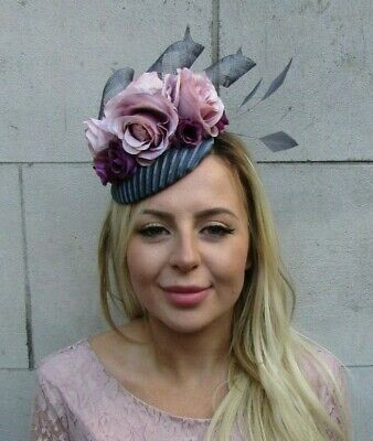 Dark Grey Plum Grape Purple Blush Light Pink Flower Feather Hat Fascinator 8045