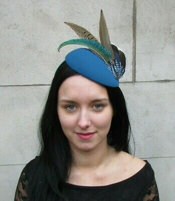Teal Dark Turquoise Blue Jay Pheasant Green Peacock Feather Hat Fascinator 8046
