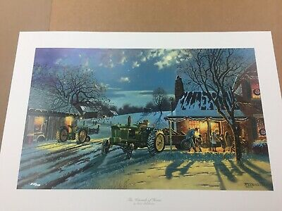 """Dave Barnhouse /""""Tales of the Day/"""" Farm John Deere Signed Print 28.25 x 16.25"""