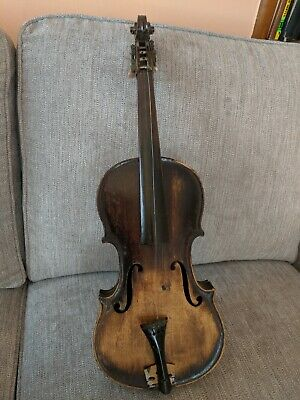 Antique Folk Art Full Size Mother Of Pearl Shell Inlay Violin - No Reserve