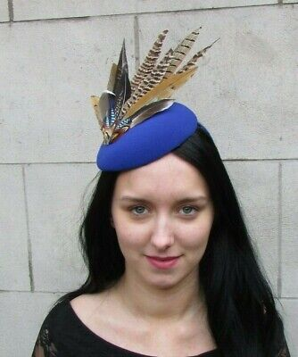 Royal Blue Jay Brown Pheasant Feather Pillbox Hat Fascinator Races Hair 8058