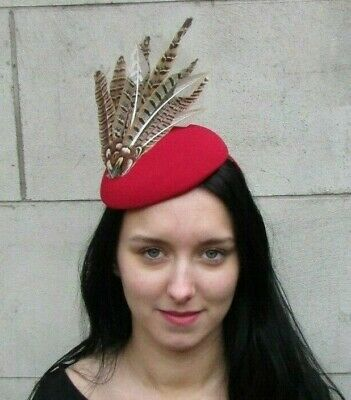 Green Red Brown Tartan Pheasant Feather Pillbox Hat Fascinator Races Vtg 4370