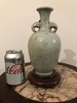 Chinese Celadon Twin Handle Porcelain Vase Song Style Wooden Stand