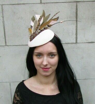Blush Pale Light Pink Brown Pheasant Feather Hat Fascinator Races Hair Vtg 8061