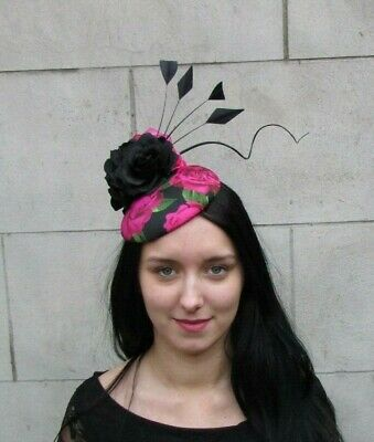 Black Cerise Hot Pink Rose Flower Feather Hat Hair Fascinator Wedding Races 8062