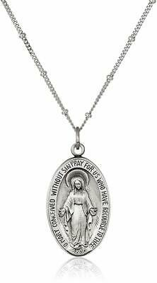 Women's Sterling Silver Oxidized Large Miraculous Medal Pendant Necklace, White