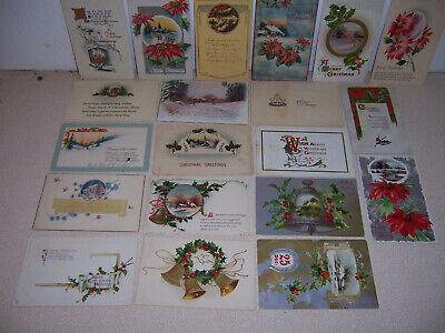 1907-20s ANTIQUE VICTORIAN CHRISTMAS GREETINGS POSTCARD LOT of 20 DIFF. #2