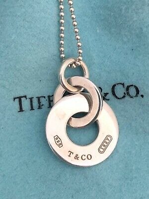 Tiffany & Co Sterling Silver Necklace 1837 Interlocking Drop Pendant Circle Disc