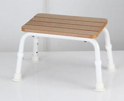 Realistic Faux Timber Bath Stool - Height Adjustable, Lightweight, Non-Slip
