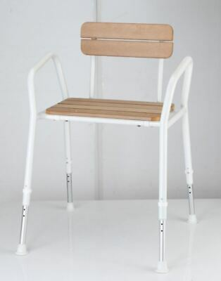 Realistic Faux Timber Heavy Duty Shower Chair - Height Adjustable, Lightweight