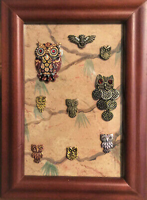 Owl Jewelry Art Framed, Vintage & Modern, Hand Made, One of a Kind
