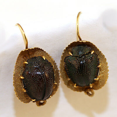 RARE Victorian 14K Yellow Gold Egyptian Revival Green Scarab Beetle Earrings