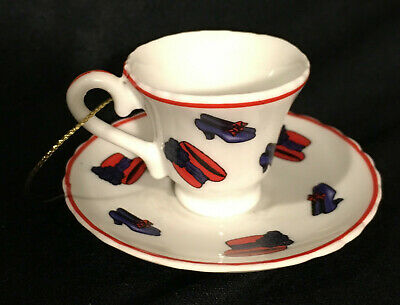Red Hat Society Tea Cup Saucer Christmas Tree Ornament Purple Shoes Ceramic Mini